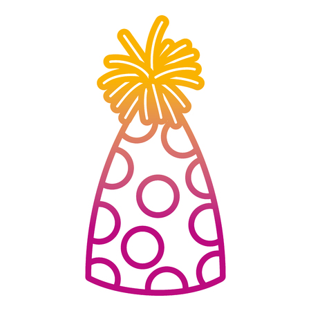 degraded line funny party hat with points decoration vector illustration