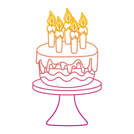 degraded line delicious cake with burning candles in the table vector illustration