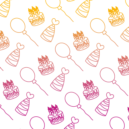 degraded line cake candles with hats and balloons background vector illustration Illustration