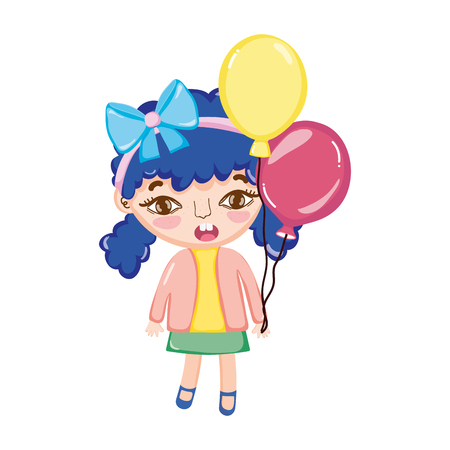 girl child with two tails and balloons vector illustration