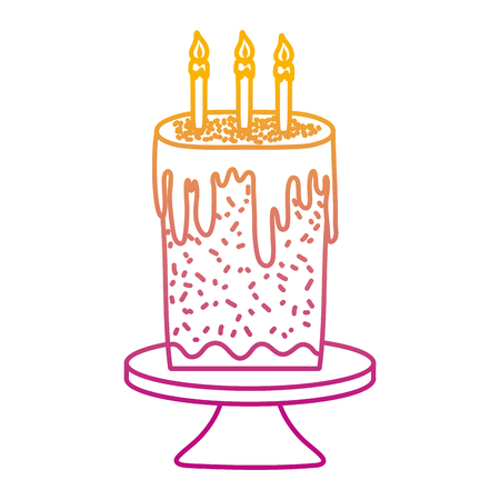 degraded line sweet cake with burning candles in the table vector illustration