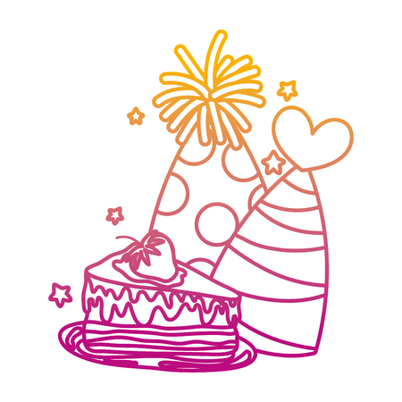 degraded line party hats with sweet cake birthday vector illustration