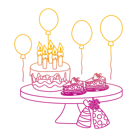 degraded line birthday party cakes with hats and balloons vector illustration Illustration
