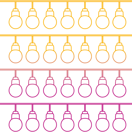 degraded line nice bulbs hangings decoration background vector illustration