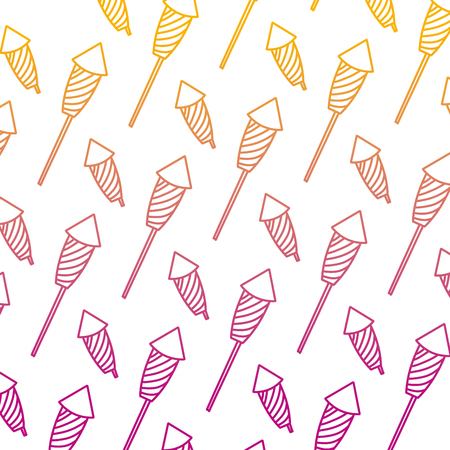 degraded line firework object to celebration holiday background vector illustration Illustration