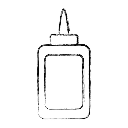 grunge glue bottle school utensil style vector illustration
