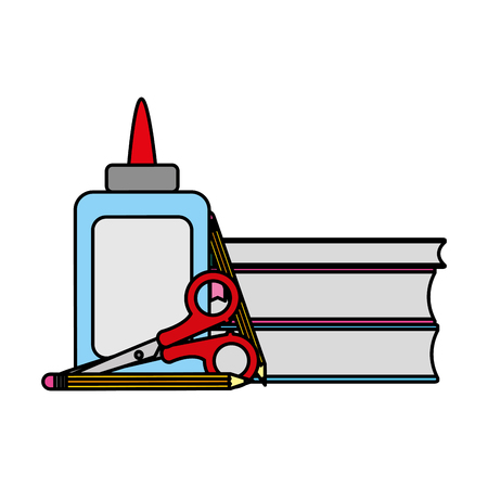 color glue and scissors with books school tools vector illustration