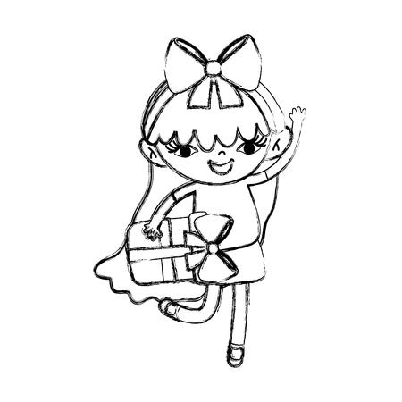 grunge nice girl child with present box vector illustration Illustration