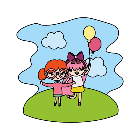 color girls children with nice balloons in the landscape vector illustration Vettoriali