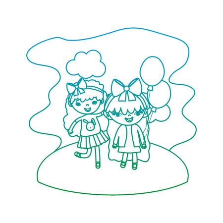 degraded line nice girls children with balloons in the landscape vector illustration