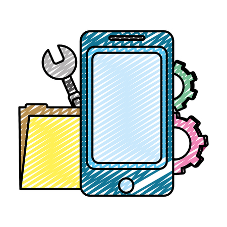 doodle smartphone with folder file and industry equipment vector illustration Illustration