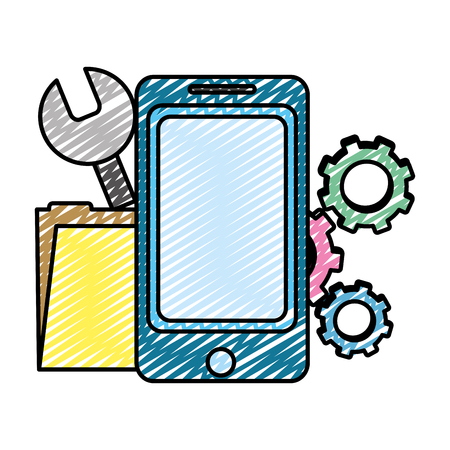 doodle smartphone with industry equipment and folder file vector illustration