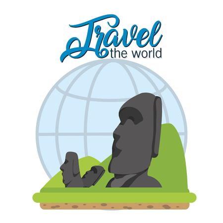 Travel the world rapa nui rocks over global sphere vector illustration graphic design