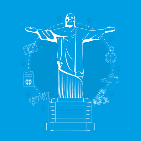 Redentor christ and travel icons vector illustration graphic design