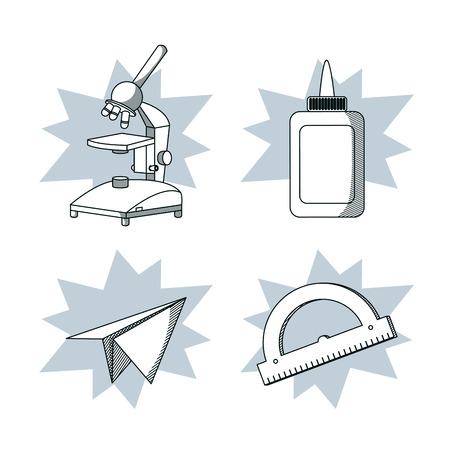 Set of school utensils draws