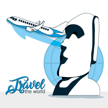 Travel the world airplane and rapa nui monuments vector illustration graphic design Illustration