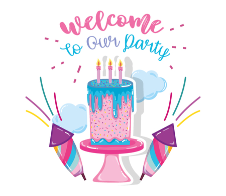 Welcome to our party messagge with cute cartoons vector illustration graphic design Illustration