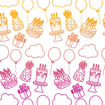 degraded line happy birthday party decoration background vector illustration