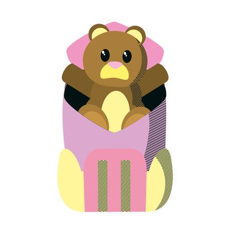 bear teddy toy inside backpack style vector illustration Ilustração