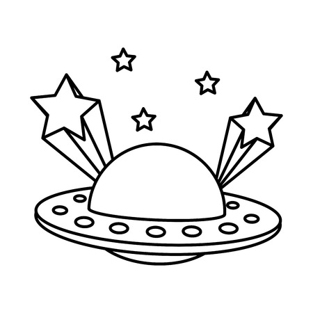 line ufo universe object and shoothing stars vector illustration Illustration