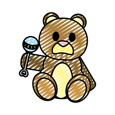 doodle bear teddy cute toy with rattle vector illustration