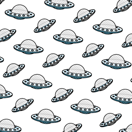 doodle ufo mystery object technology background vector illustration