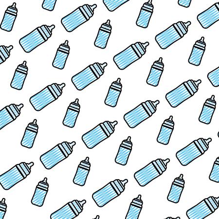 doodle plastic bottle feeding object background vector illustration