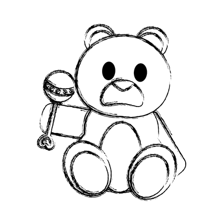 grunge bear teddy cute toy with rattle vector illustration