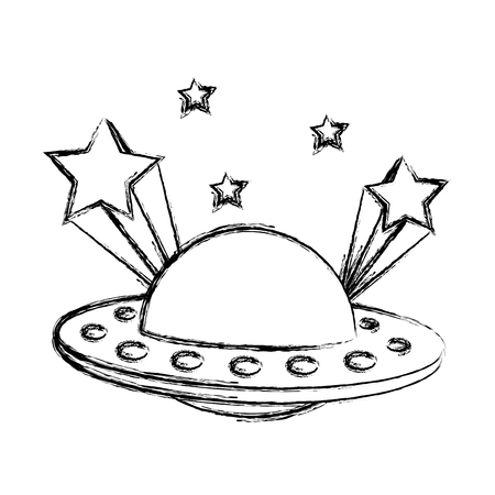 grunge ufo universe object and shoothing stars vector illustration Stock Illustratie