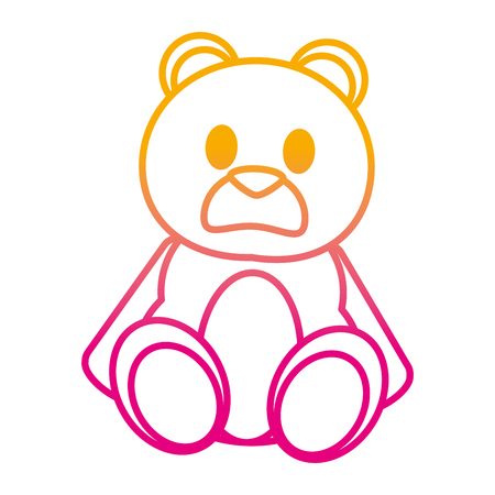 degraded line bear teddy cute toy childhood vector illustration