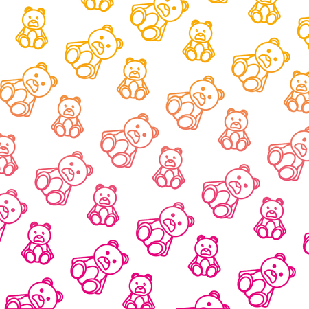 degraded line bear teddy cute toy background vector illustration Illustration