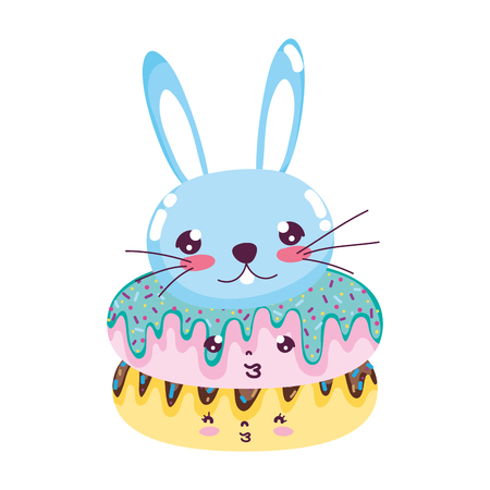 kawaii cute donuts and male rabbit vector illustration Illustration