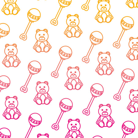degraded line rattle and teddy bear toys background vector illustration