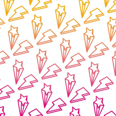 degraded line nice light thunder and star background vector illustration