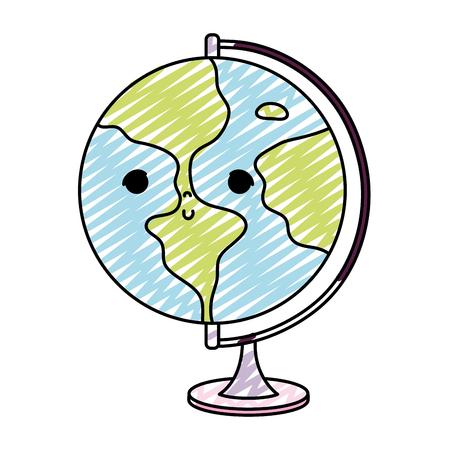 doodle kawaii nice global planet desk vector illustration