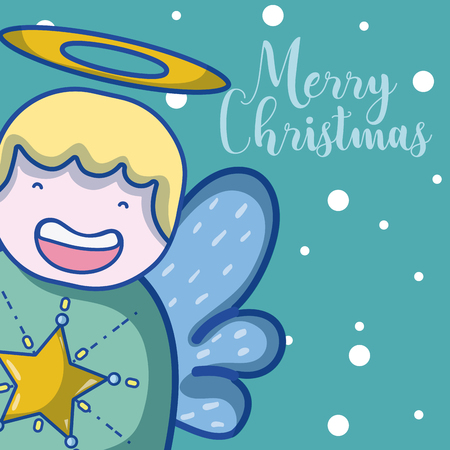 Merry christmas card with angel cartoons vector illustration graphic design Illustration
