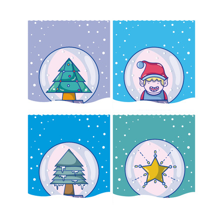 Set of christmas cards cartoons vector illustration graphic design