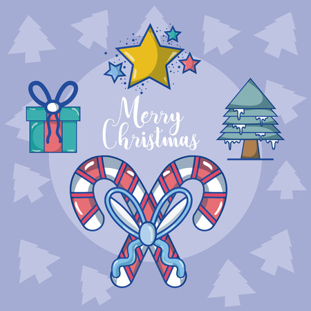 Merry christmas card with candies and cute cartoons vector illustration graphic design