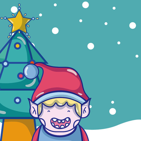 Christmas with elf and tree pine cartoons vector illustration graphic design Illustration