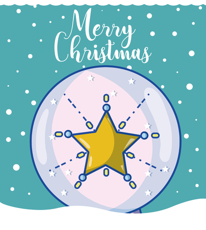 Merry christmas card with glass ball cartoons vector illustration graphic design