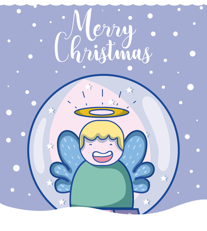 Merry christmas card with angel inside ball cartoons vector illustration graphic design