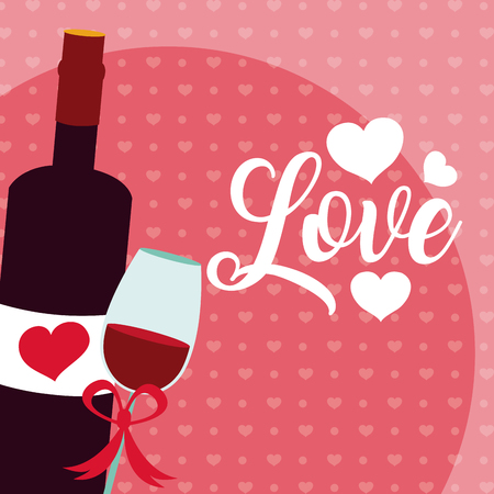 Cute love with wine bottle and cup cartoons vector illustration graphic design