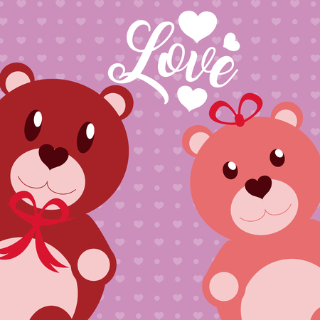 Cute love with teddy bears cartoons vector illustration graphic design