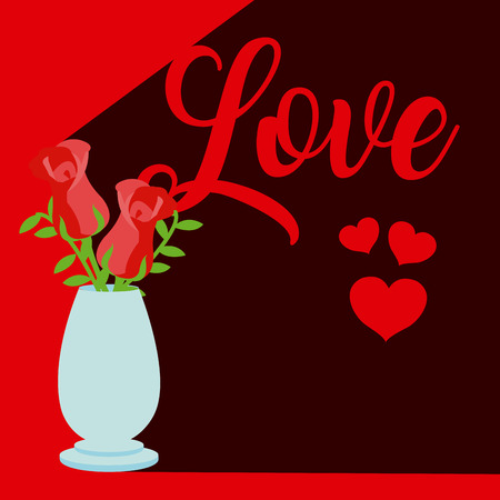 Cute love with flowers inside jar cartoons vector illustration graphic design