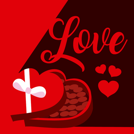 Cute love with gift heart shape box cartoons vector illustration graphic design