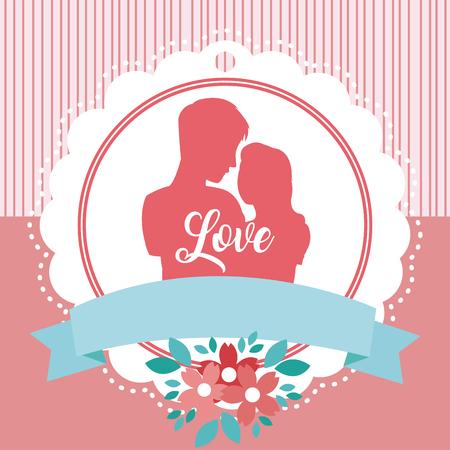 Pareja de enamorados en emblema y diseño gráfico de ilustración de vector de marco en blanco Ilustración de vector
