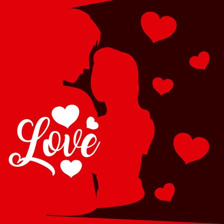 Love card wirh couple silhouette and hearts vector illustration graphic design