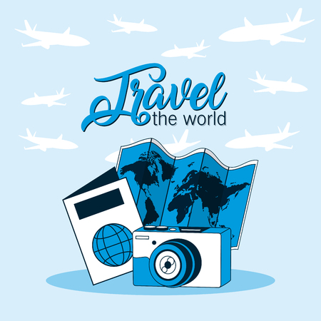 Travel the world with camera map and passport vector illustration graphic design