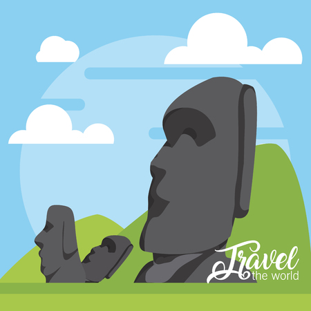Travel the world card with rapa nui rocks vector illustration graphic design Illustration