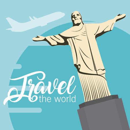 Travel the world card with redentor christ vector illustration graphic design